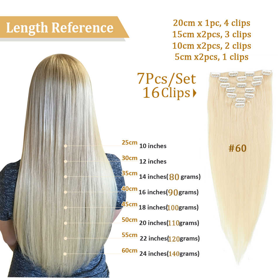 MRSHAIR Brazilian Extensions Human Hair Clips In Machine Remy Straight Hair With Clips Blonde Hair Natural 7pcs Set 12 Colors