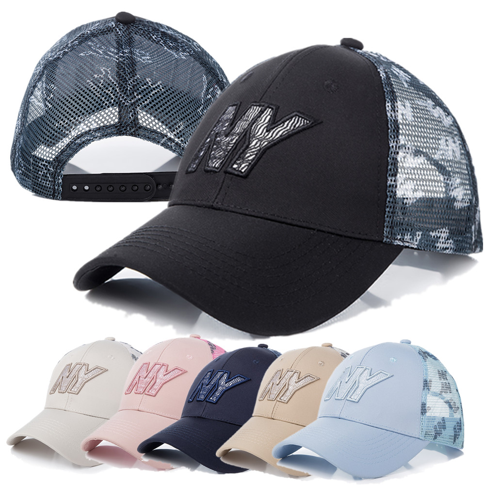 New Unisex Mesh Cap High Quality Cotton Baseball Cap NY Letter Embroidery Casual Adjustable Hats For Women Men Trucker Hat Cap image