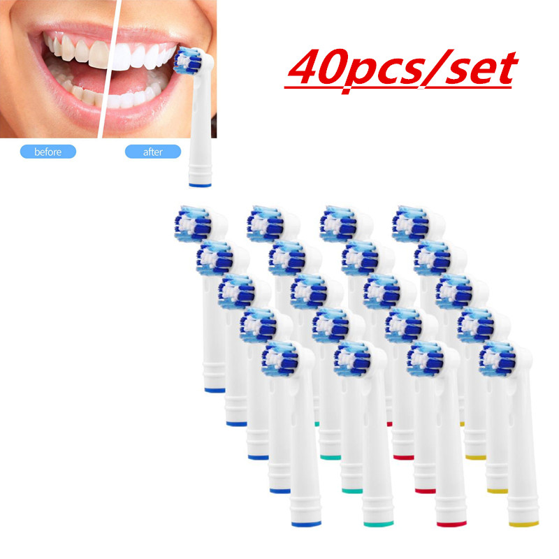 Fast Shipping 40 Pcs/set Replacement Brush Heads For Oral Hygiene B Electric Toothbrush Fit Advance Power/3D/ Precision Clean
