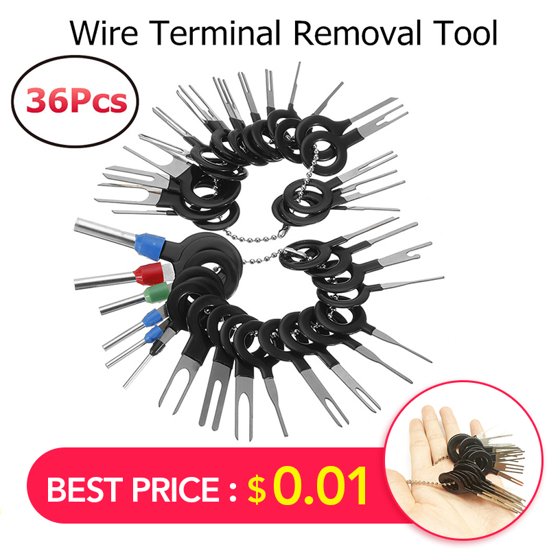 36Pcs/Set New Car Terminal Removal Electrical Wiring Crimp Connector Pin Extractor Kit Automobiles Terminal Repair Hand Tools