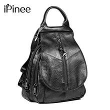 Ipinee moda mochila de couro genuíno das mulheres saco de escola do sexo feminino sacos de ombro viagem preto/marrom volta sacos mochila