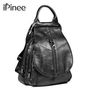 Image 1 - iPinee Fashion Cowhide Backpack Women Genuine Leather School Bag Female Travel Shoulder Bags Black/Brown Back Bags Mochila