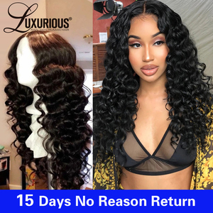 Image 3 - Glueless Pre Plucked 13*4 Lace Front Human Hair Wigs With Baby Hair Brazilian Remy Hair Deep Wave Lace Front Wig Bleached Knots