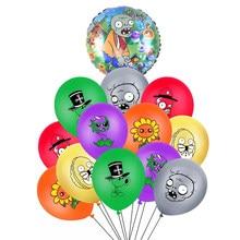 13 pçs/lote 12 polegada plantas vs zumbis látex balões feliz aniversário tema do jogo 18 polegada folha ballons festa suprimentos decoração brinquedo