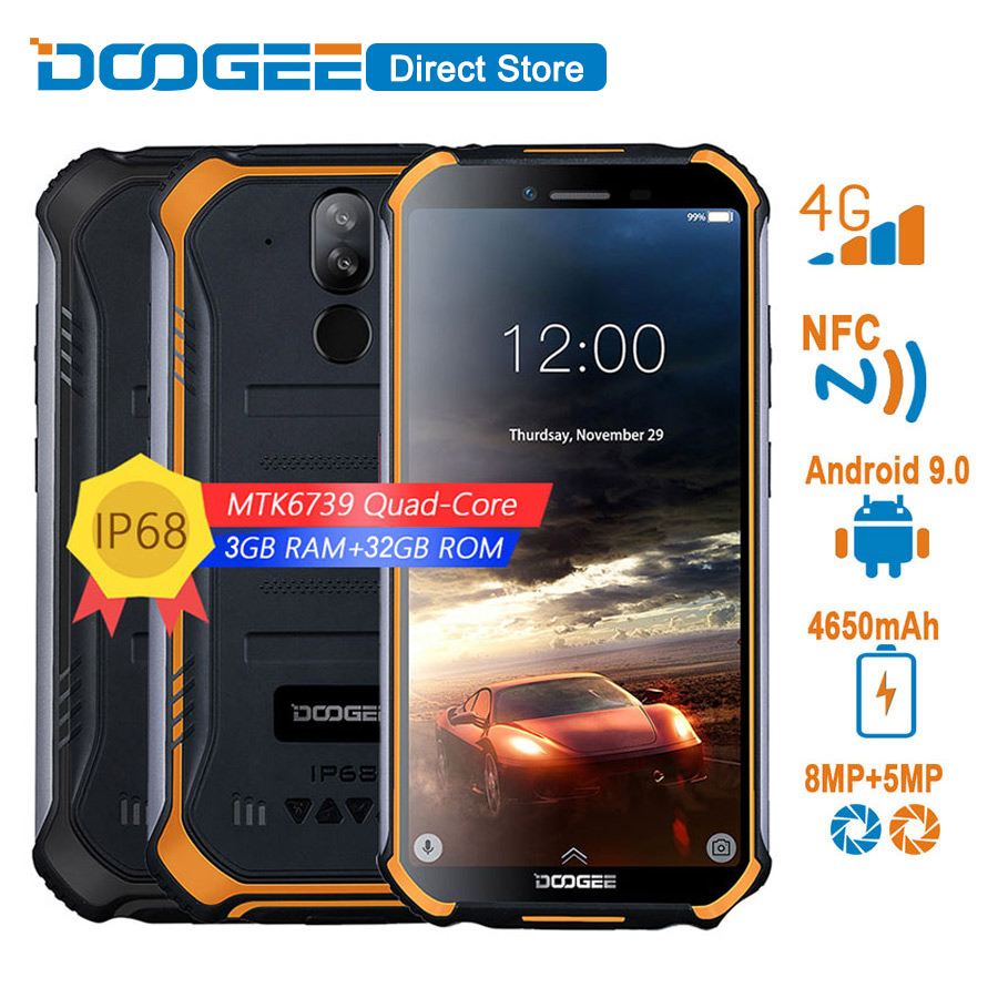 Original DOOGEE S40 4G Network Mobile Phone 5.5inch Display 4650mAh MT6739 Quad Core 3GB RAM 32GB ROM Android 9.0 IP68/IP69K