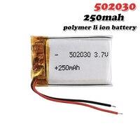 Batería recargable de iones de litio para juguetes, 3,7 V, 250mAh, 502030 polímero, tacógrafo con luz LED, auricular Bluetooth, MP3, MP4, DVR