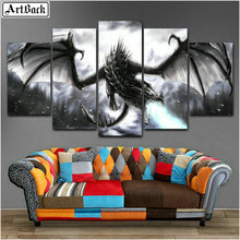 5d full square & round diamond painting dragon five spell decoration pterosaur mosaic crafts animal