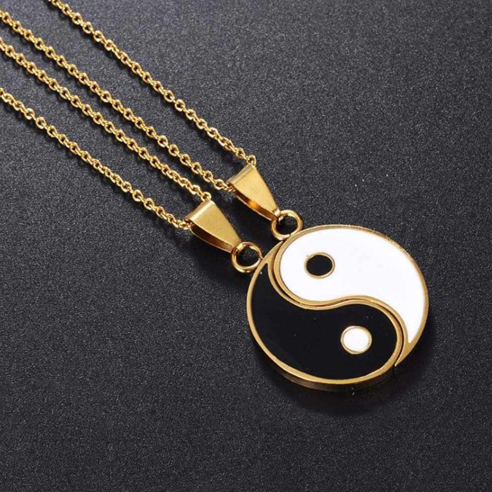2 шт. ожерелье Тай Чи из нержавеющей стали Инь Ян подвеска головоломка ожерелье ювелирные изделия на день рождения подарки для пары или лучших друзей