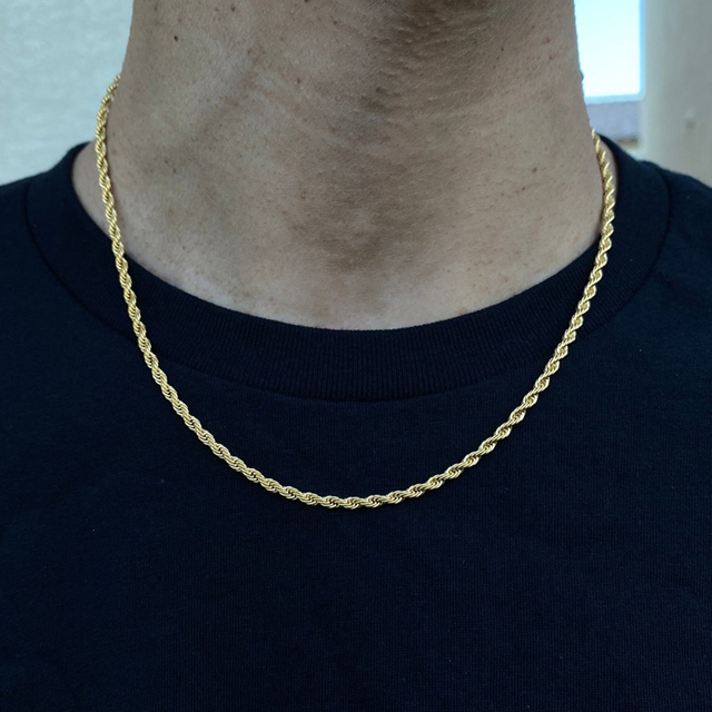 2020 Fashion Rope Chain Necklace Men Temperament 3mm Width Stainless Steel Chain Necklace For Men Jewelry Gift 5