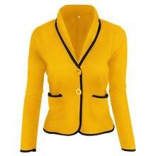 Женские повседневные короткие блейзеры s 6xl желтого цвета с