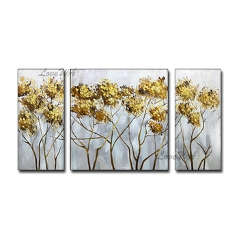 Unframed Gold Tree Modern Abstract 3 Group Oil Painting Canvas Wall Art Hangings Artwork Home Wall Showpiece For Living Room