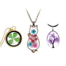 цены Handmade Daisy Wish Tree Plant of Life Real Dry Flower Resin Pendant Necklace Dome Glass Cabochon Dried Flower Necklace