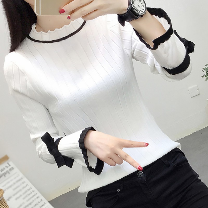 Autumn Sweet Simple Sweater Women Casual Wooden Ear Bow Long Trumpet Sleeve O Neck Sweaters