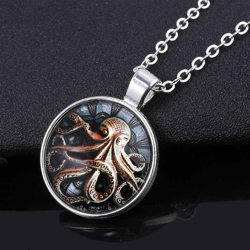 Cthulhu Mythos 목걸이 H. P의 전화를 통해 SG. Lovecraft Cthulhu Octopus 옷깃 핀 남성용 열쇠 고리 코스프레 쥬얼리