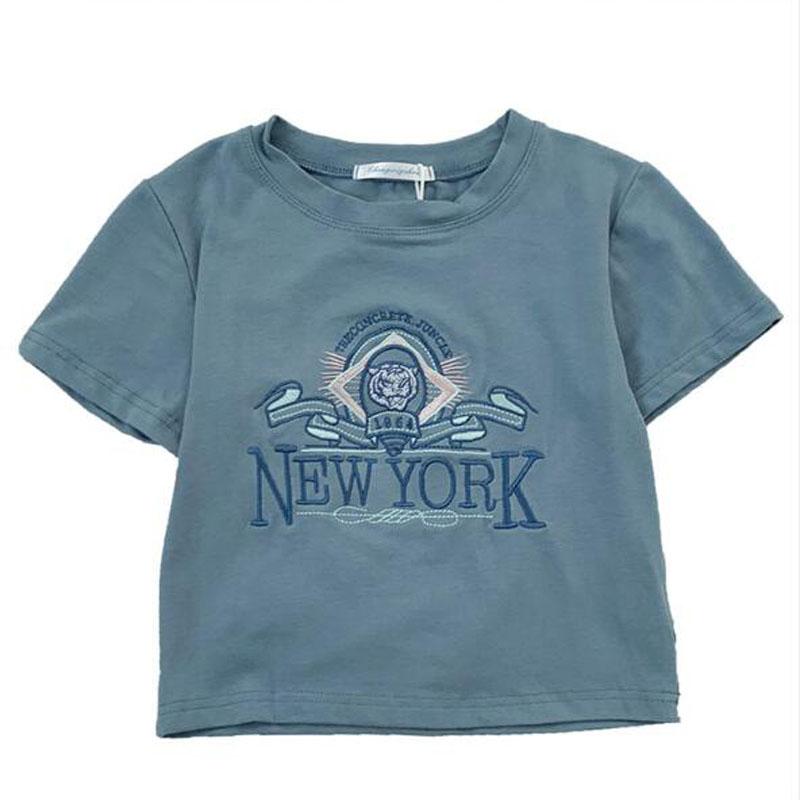 High Quality Embroidery T shirt Women European American Style Short Sleeve O Neck Women Tops Short Length Woman T shirt
