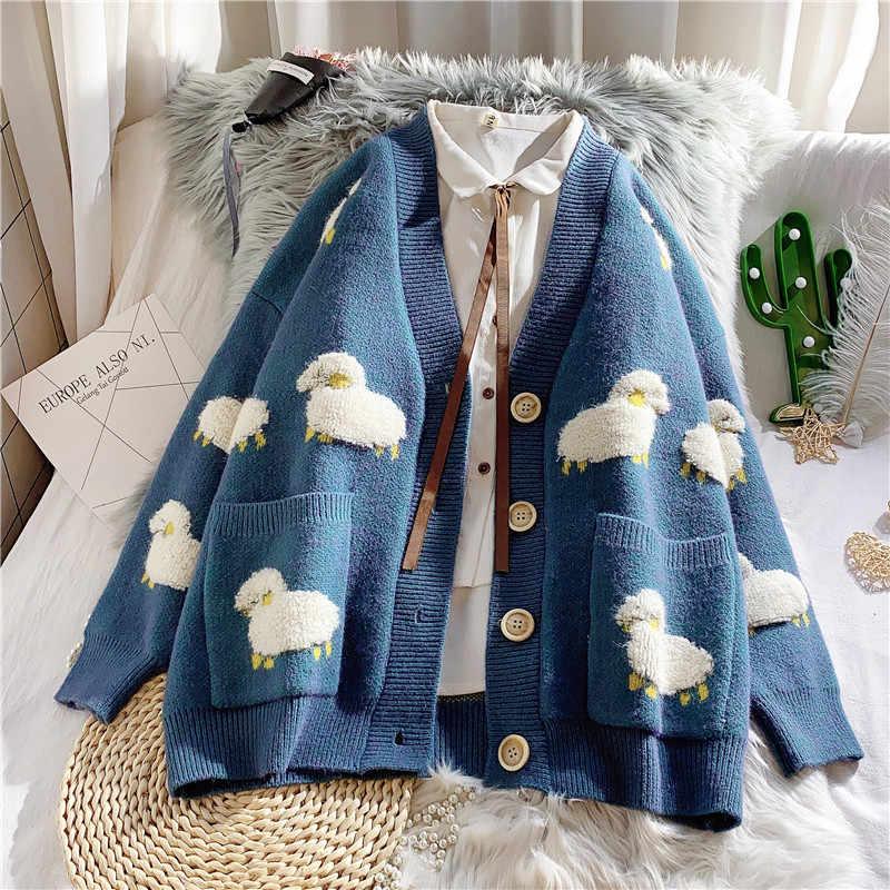 Cute Sheep Women Knitted Cardigan Batwing Sleeve Loose