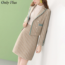 Woman Skirts Tweed-Suit Plaid Office Fashion Casual French Winter Only-Plus Two-Set Lady