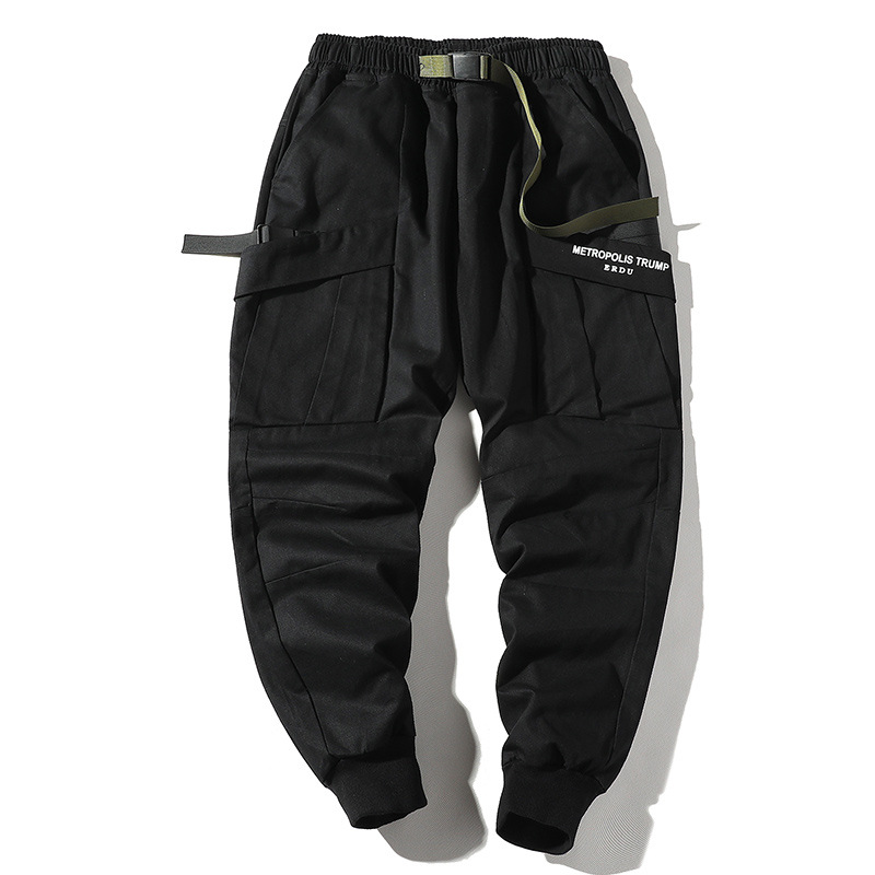 New Fashionable Darkly Stylish Men's Jogger Trousers Autumn Hip Hop Streetwear Side Pocket Ribbons Ins Sweatpants Pencil Pants