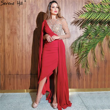 Serene Hill Red One Shoulder Mermaid Sexy Evening Dress 2020 Long Sleeveless Diamonds Satin Formal Party Gown CLA70465