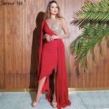 Serene tepe kırmızı bir omuz denizkızı seksi akşam elbise 2020 uzun kolsuz Diamonds saten örgün parti kıyafeti CLA70465