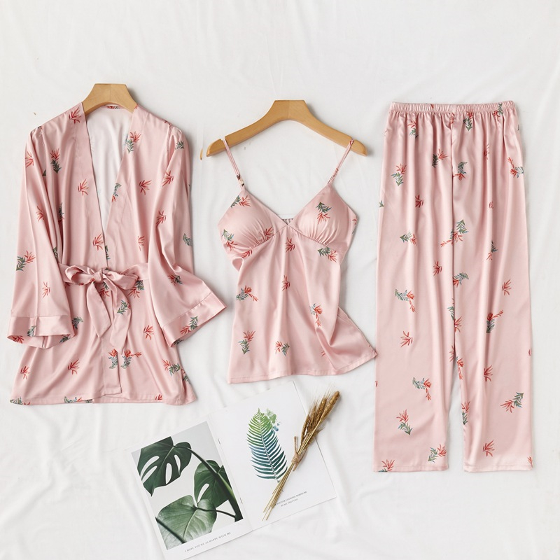 JULY'S SONG Women Faux Silk Pajamas Set 3 Pieces Spring Summer Floral Print Cute Pajamas Sleepwear Trousers Soft Casual Homewear