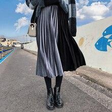 2019 Otoño e Invierno colores metálicos de terciopelo falda Patchwork Restro mujeres faldas Midi Vintage vestido Haut falda de las mujeres
