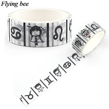 Flyingbee 15mmX5m Paper Washi Tape twelve constellations Adhesive Tape DIY Scrapbooking Sticker Label Masking Tape X0596