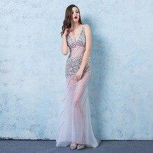 Sexy V-neck Evening Dress Beaded See Through long Party Nightclub Mermaid Long Luxury Beading 2019