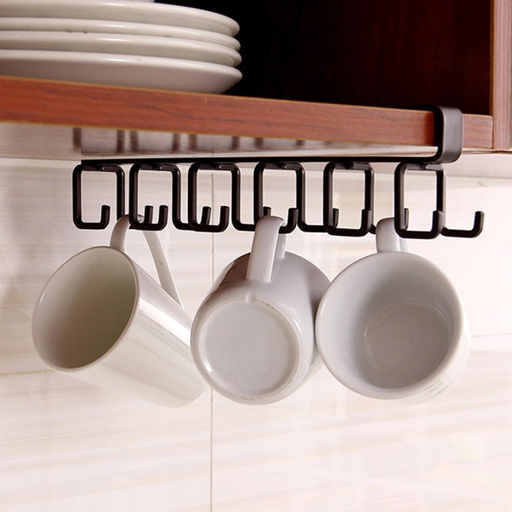 Kitchen Cabinet Under Storage Rack Organizer Hanging Hook Kitchenware HolderWall Hooks Hanger Organizer Kitchen Accessories