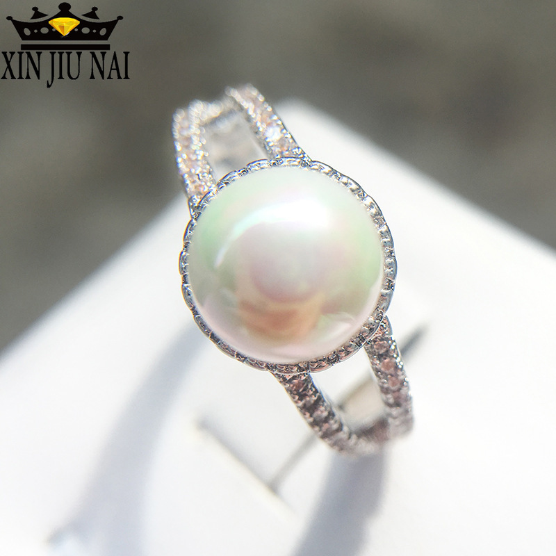 925 Silver Jewelry Created White Pearl Rings For Women Elegant Wedding Zircon Mujeres Anillos Personalized Mother's Day Gift
