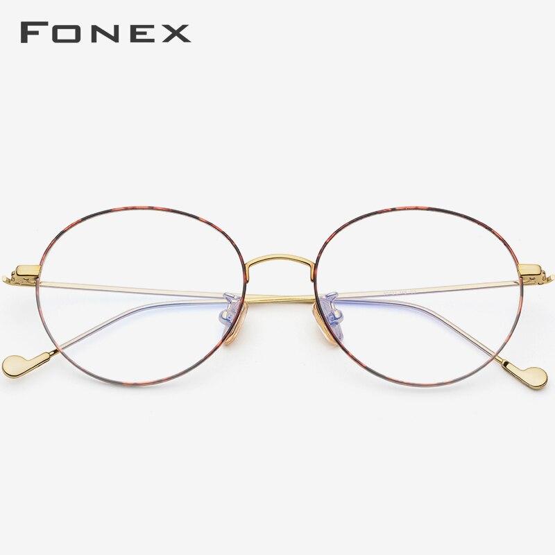 FONEX pur titane lunettes cadre hommes rond Prescription lunettes lunettes Vintage rétro myopie optique femmes Spectalces 705