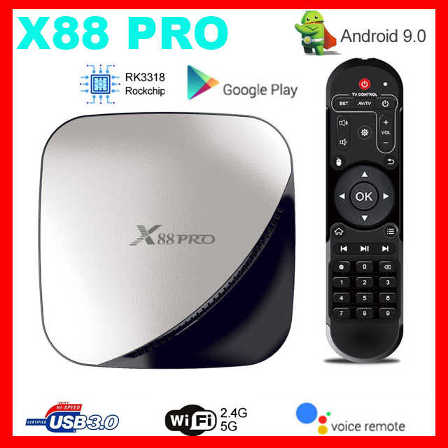 Mecool TV Box X88 Pro Tvbox Android9.0 4GB RAM 64GB 32GB RK3318 Quad Core WIFI YouTube 4K X88PRO 2GB16GB Smart Set Top Box