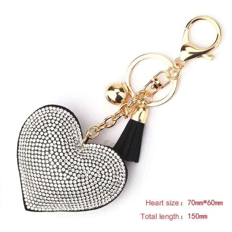 Trendy coração pendente chaveiro borla couro titular da chave chave de metal cadeia de moda de cristal dourado saco chaveiros acessórios do carro de presente