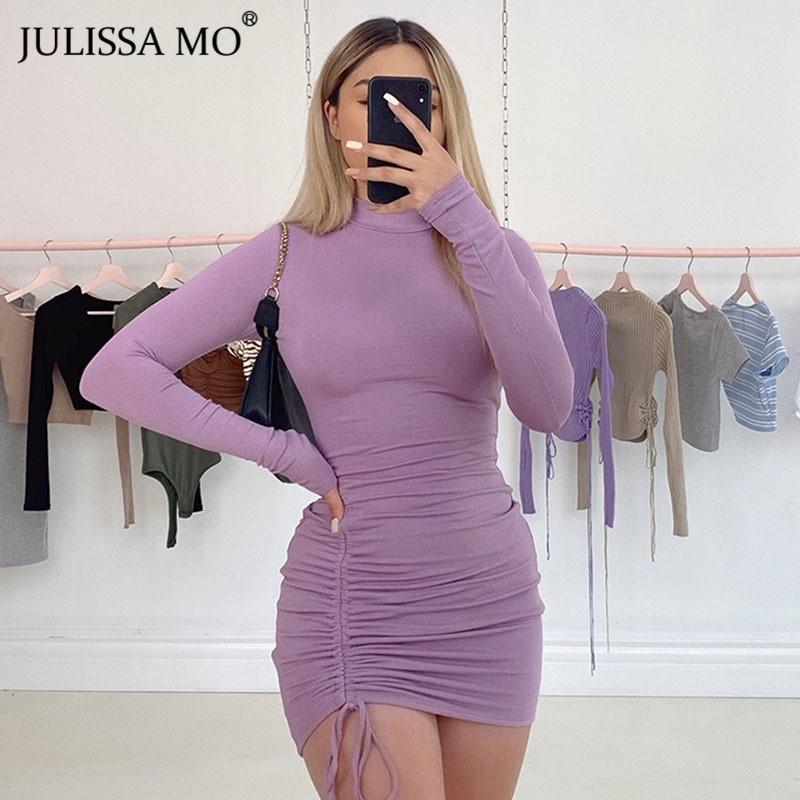 Julissa Mo Long Sleeve Ruched Bodycon Dress Women Turtleneck Bandage Mini Dresses Autumn Black Skinny Stretchy Party Vestidos