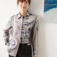 New silk Court style decorative shirt vintage printed silk top
