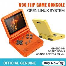 1PC V90 64BIT 16G IPS LCD หน้าจอ Mini กระเป๋าคอนโซลวิดีโอเกม Linux จำลอง Retro 3D PS1แบบพกพา
