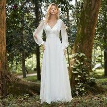 A line свадебное платье 2020 boho белое Элегантное v образный