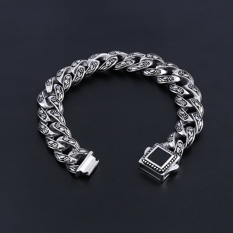15mm Heavy Punk Rock Retro 316L Stainless Steel Rose Flower Curb Cuban Bracelet Hiphop Mens Biker Link Chain Bracelets Jewelry