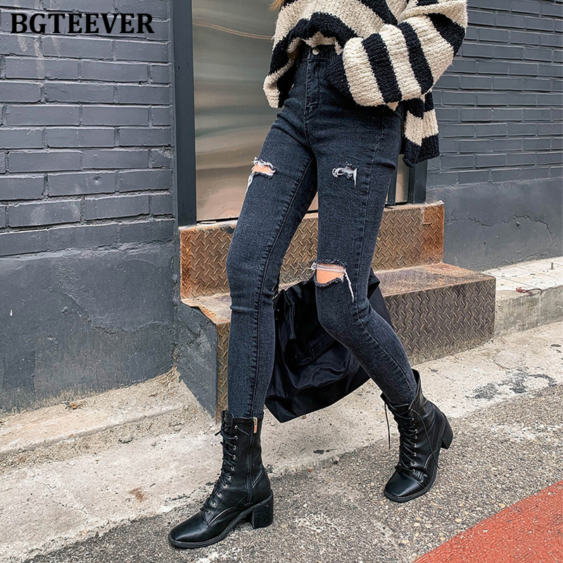 BGTEEVER Vintage Black Jeans Woman Ripped Jeans For Women Denim High Waist Jeans Female Stretch Skinny Pant Femme Vaqueros Mujer