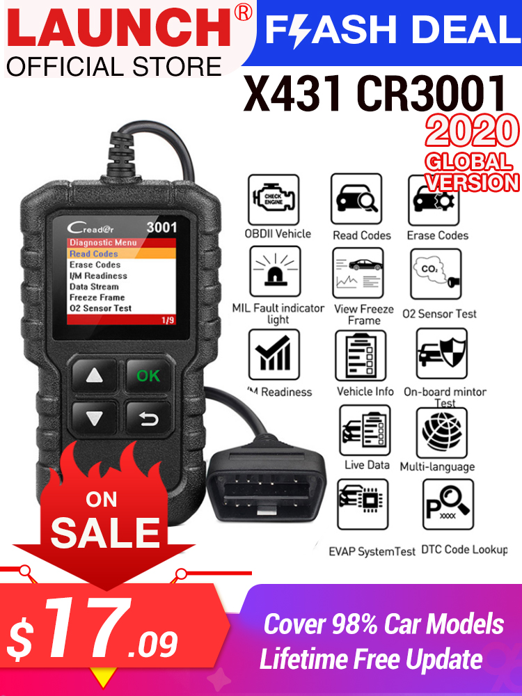 LAUNCH Code-Reader Car-Diagnostic-Tool Engine-Light Full-Obd2-Scanner ELM327 CR3001 OBDII
