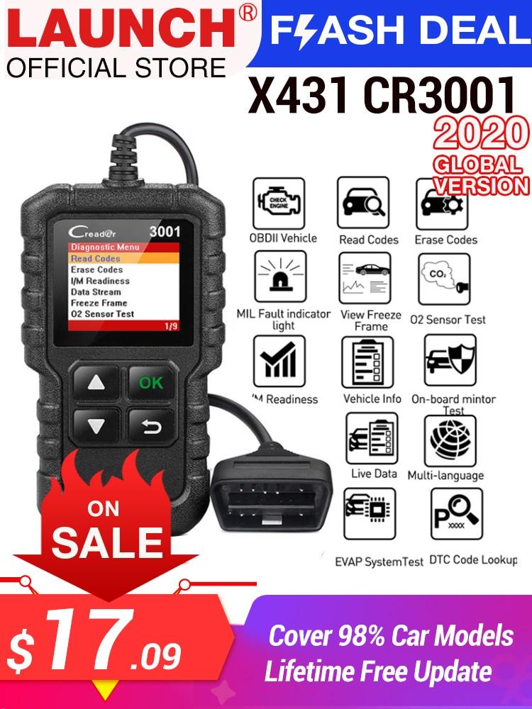 LAUNCH Code-Reader Car-Diagnostic-Tool Update Full-Obd2-Scanner ELM327 CR3001 OBDII Free