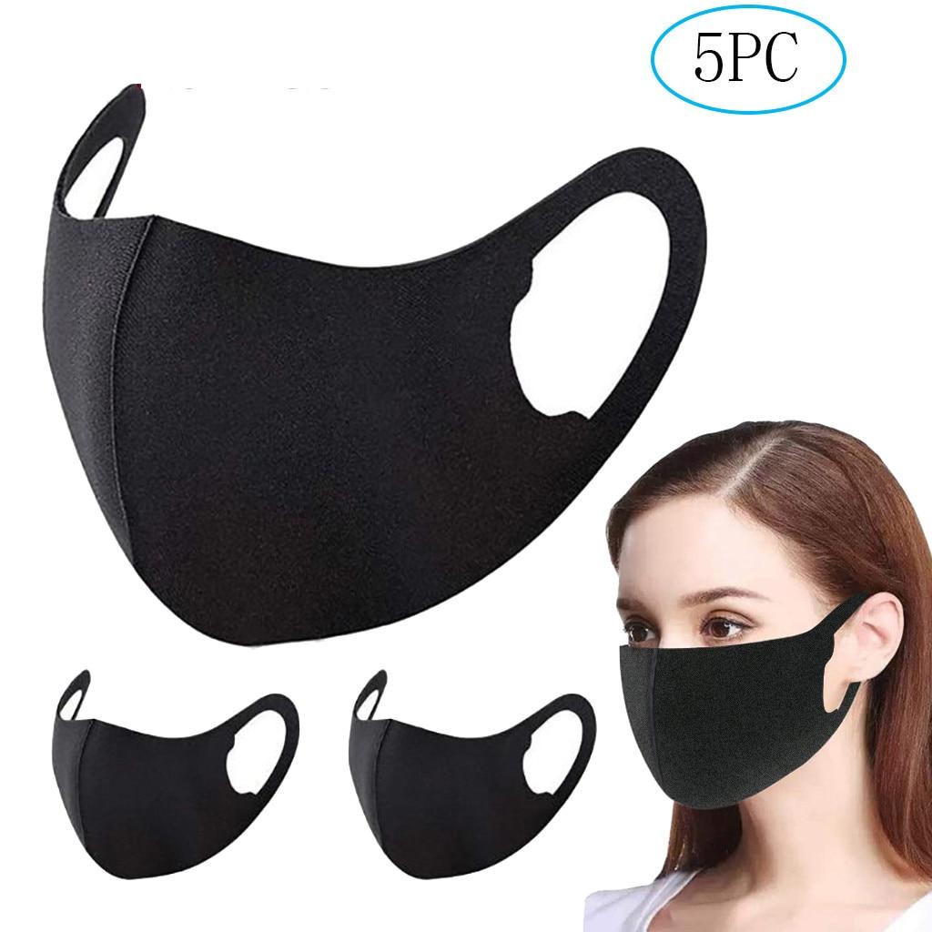 5pc unissex boca tampas lavável reusável designer preto boca máscara dustproof boca mondkapjes máscara de proteção|Máscaras das mulheres|   -