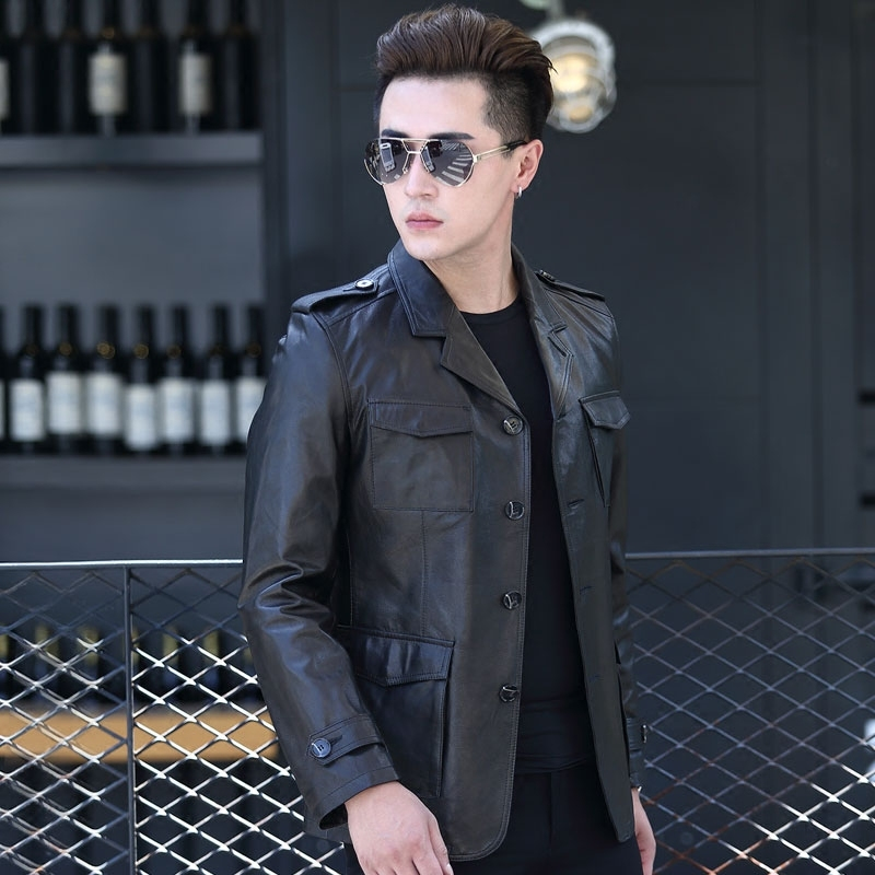 2020 Real Goatskin Leather Coat Spring Autumn Genuine Leather Jacket Men Blazer Slim Suit Collar Windbreaker D-178086