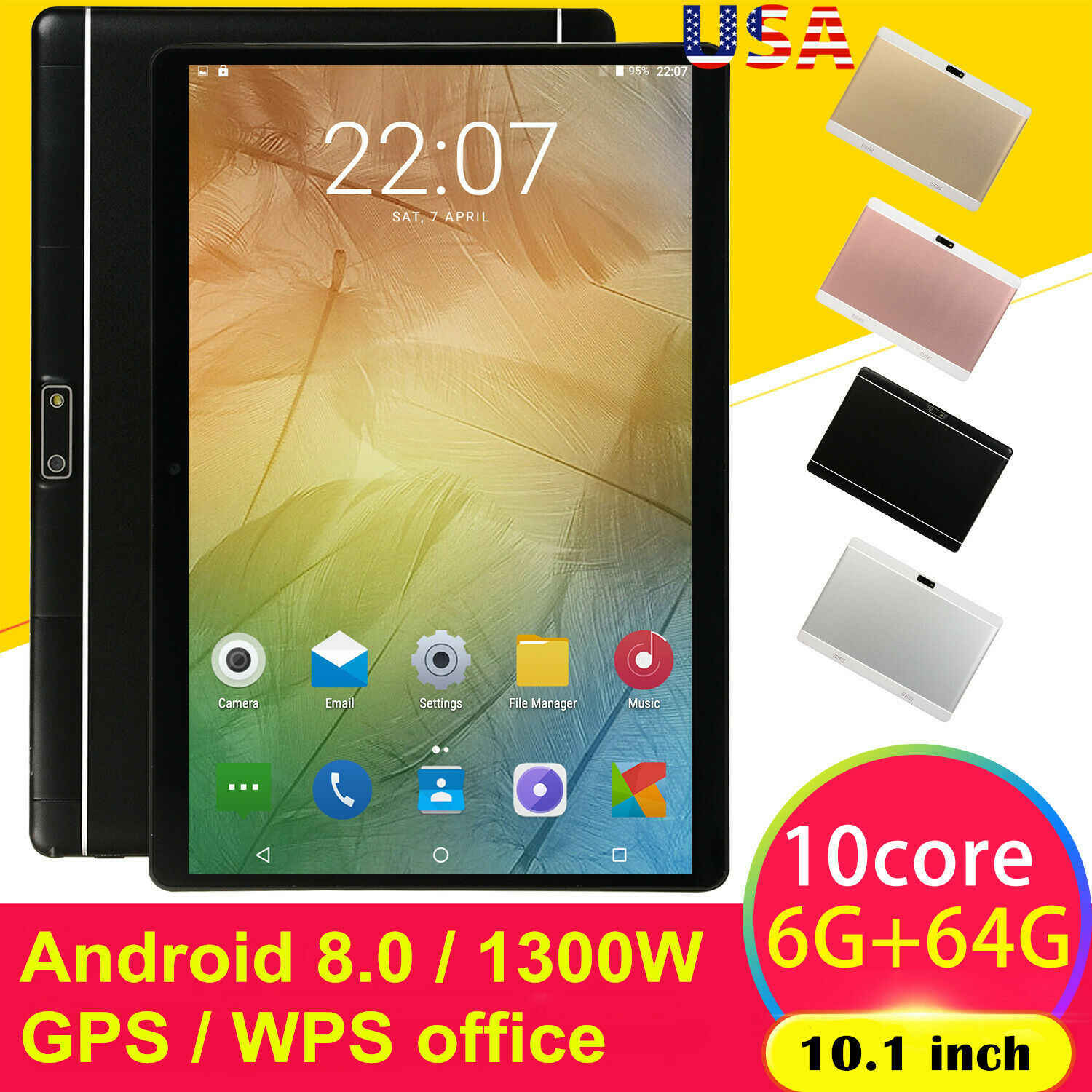 10.1 Inch Hd Game Tablet Computer Pc Android 8.0 Tien-Core Gps Wifi Dual Camera Tablet Pad Ondersteuning Dual sim-kaart