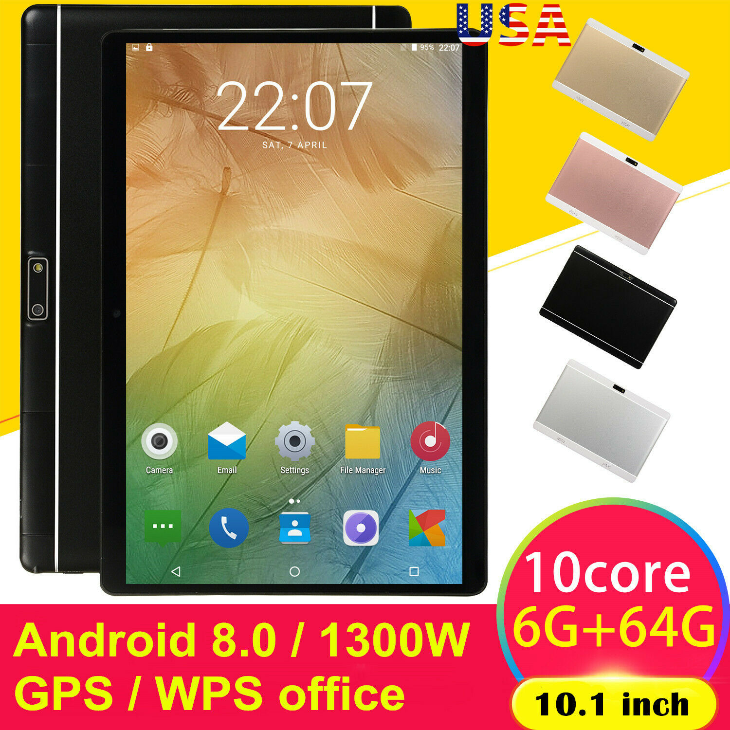 10.1 Inch HD Game Tablet 6G+64G Android 8.0 Computer PC Ten-Core GPS WIFI Dual Camera Tablet Pad Support Dual Sim Card