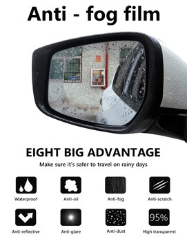 50pcs Nanometer High-quality Car Rearview Mirror Protective Film Anti Fog Membrane Anti-glare Waterproof Rainproof