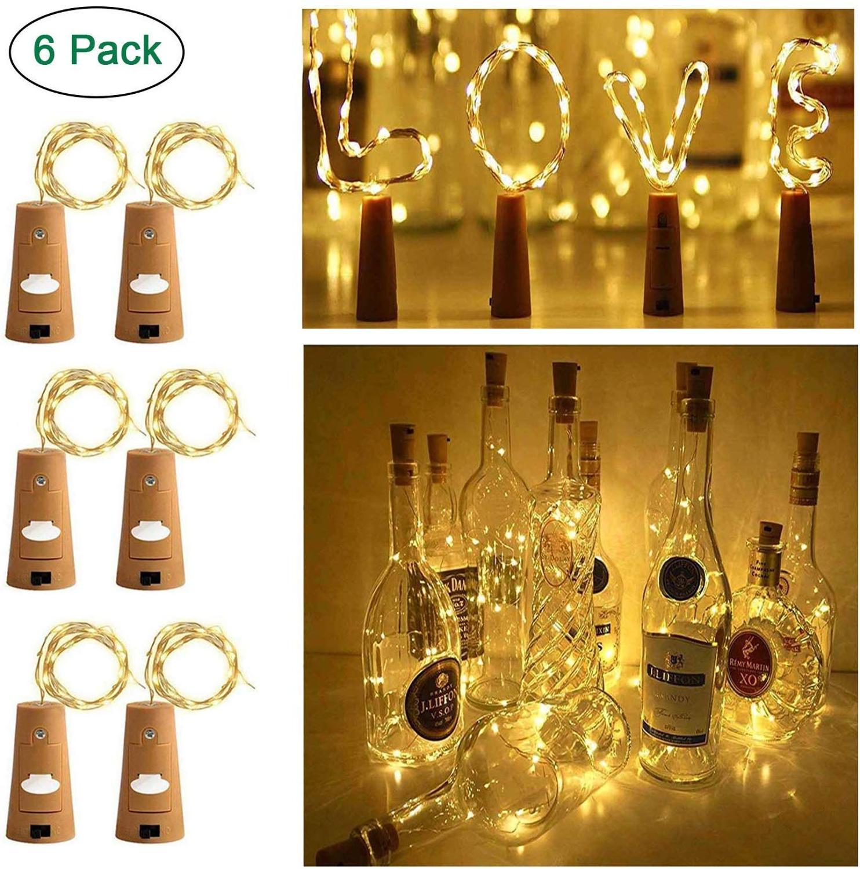 Lot DE 6 Bouteilles De Vin En Liège Avec 20 Ampoules LED à Piles Fonctionnement à Piles Pour Fête, Halloween, Mariage, Festival
