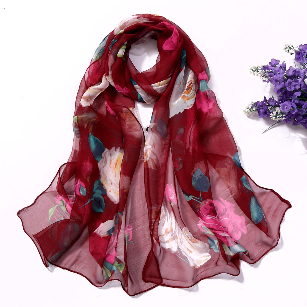 Summer Sunscreen Scarf Women Mountain River Printing Thin Section Seaside Beach Vacation Long Rose Shawl Female 2020 Spring