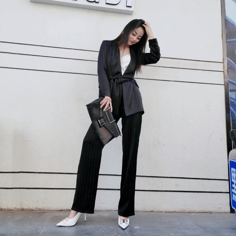 High Quality Fashion Office Ladies 2Pcs Suits Elegant Long Sleeve Shawl Collar Belt Blazer Top Straight Full Length Trousers