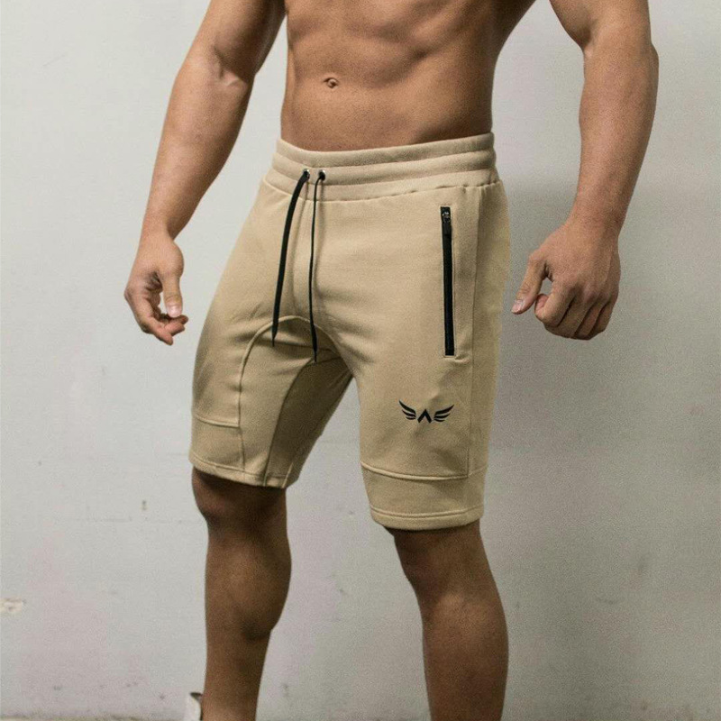 Men Shorts Cotton Embroidery Splced Knee Length Gym Workout Shorts Bodybuilding Casual Short Pants Sportswear
